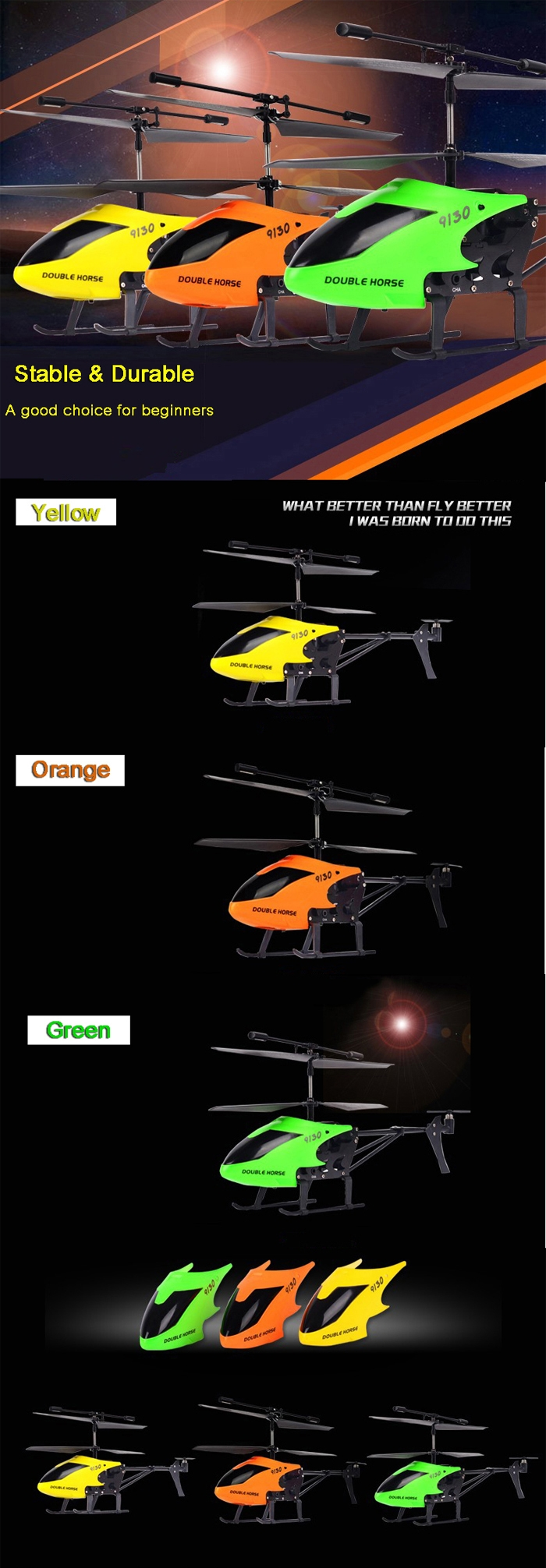 Double Horse 9130 3.5CH 2.4G Alloy RC Helicopter With Gyro