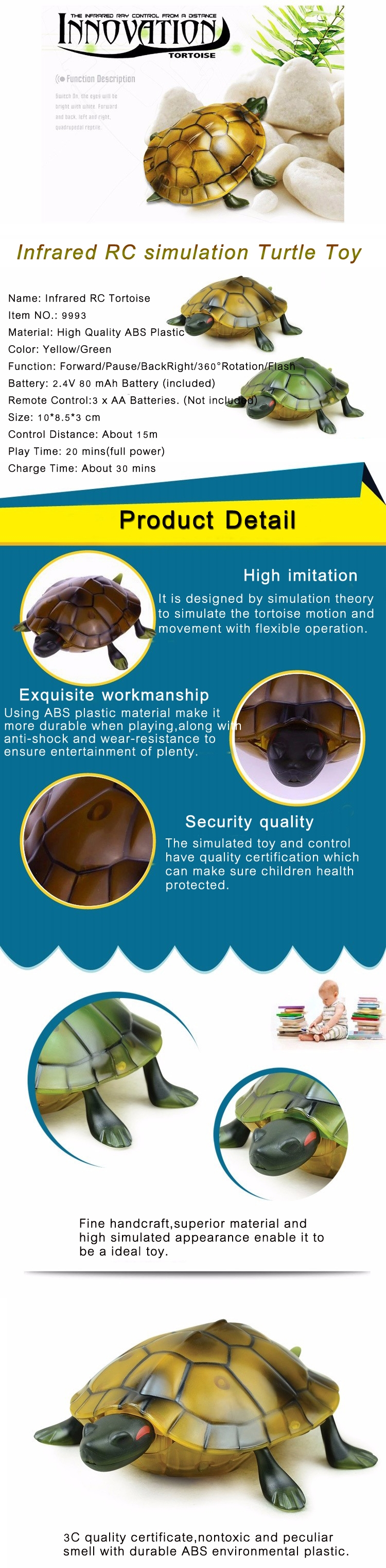 Infrared Electric RC Tortoise Simulation Remote Control Turtle Kid Toy