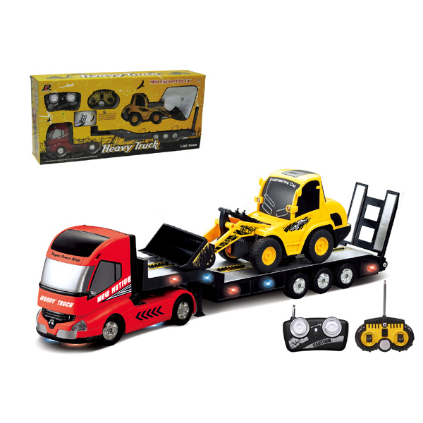 QINGYI MINI RC Toy 1:32 6CH RC Trailer With 1:20 6CH RC Dump Truck