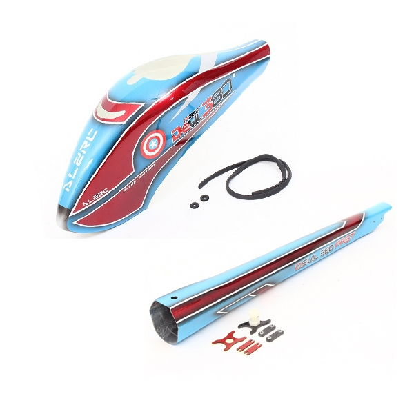 ALZRC Devil 380 FAST RC Helicopter Parts Painting Canopy Combo Blue