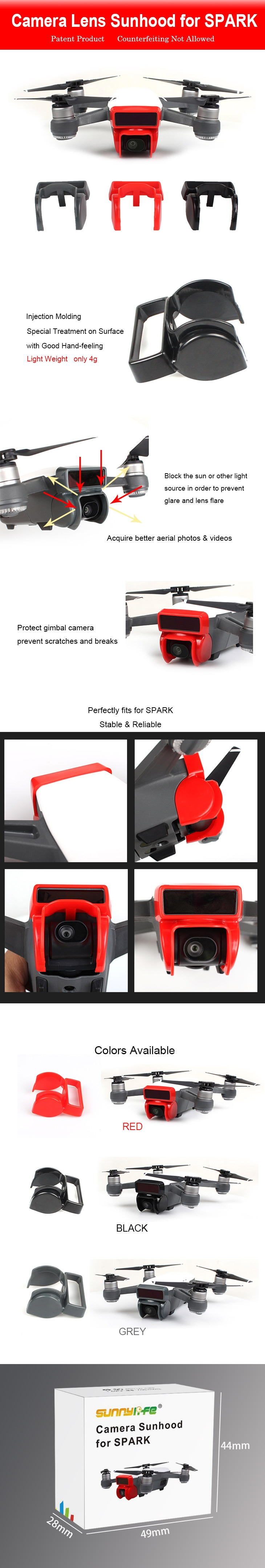Sunnylife Camera Lens Hood Sunshade Protective Cover For DJI Spark