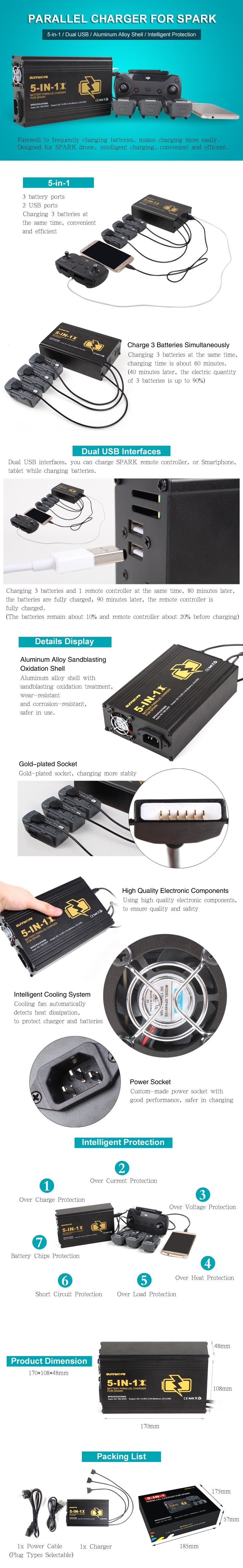 5 in 1 Multi Intelligent Parallel Charger Battery & Transmitter Dual USB Charger For DJI Spark
