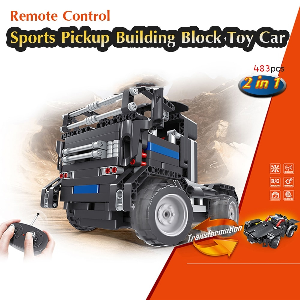 Remote Control Sports Car Pickup Building Block Toy 483pcs