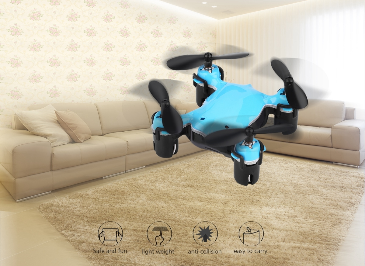 Virhuck volar-360 RC Nano Drone 2.4 GHz 4.5 CH 6 AXIS GYRO System Multicolor LED Lights Headless/One Key Return Mode Quadcopter Blue