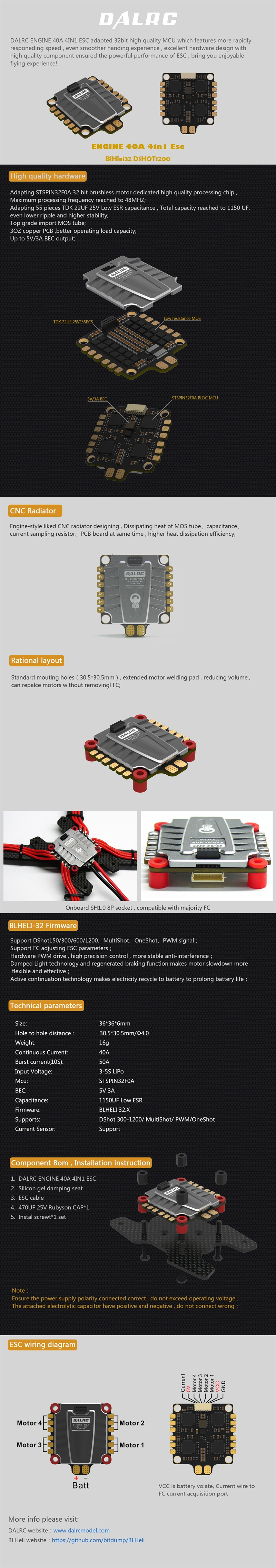 DALRC ENGINE 40A 3-5S Blheli_32 4 in 1 Brushless ESC DSHOT1200 Ready w/ 5V BEC for FPV Racing Drone