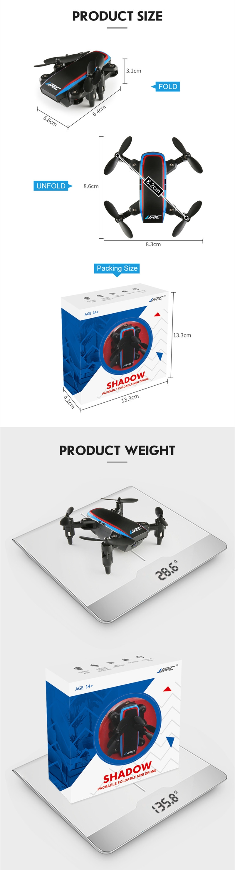 JJRC H53W Shadow WiFi FPV Foldable Mini Drone With 480P Camera Altitude Hold Mode RC Quadcopter BNF