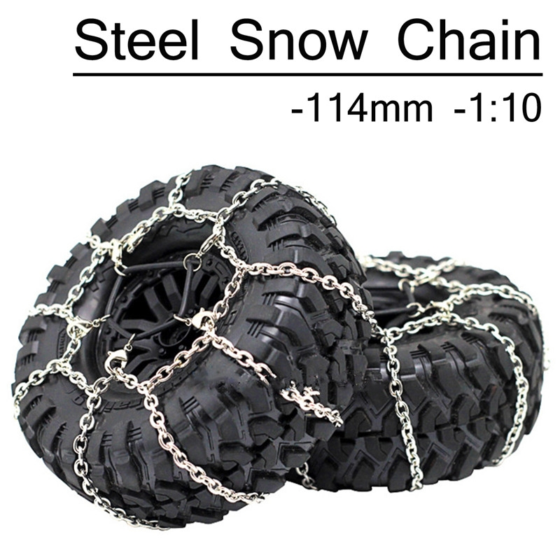 Xtra Speed 114mm Steel Wheel Tyre Anti-Slip Snow Chain For 1/10 RC Cars 1.9 Crawler Tires #XS-59626