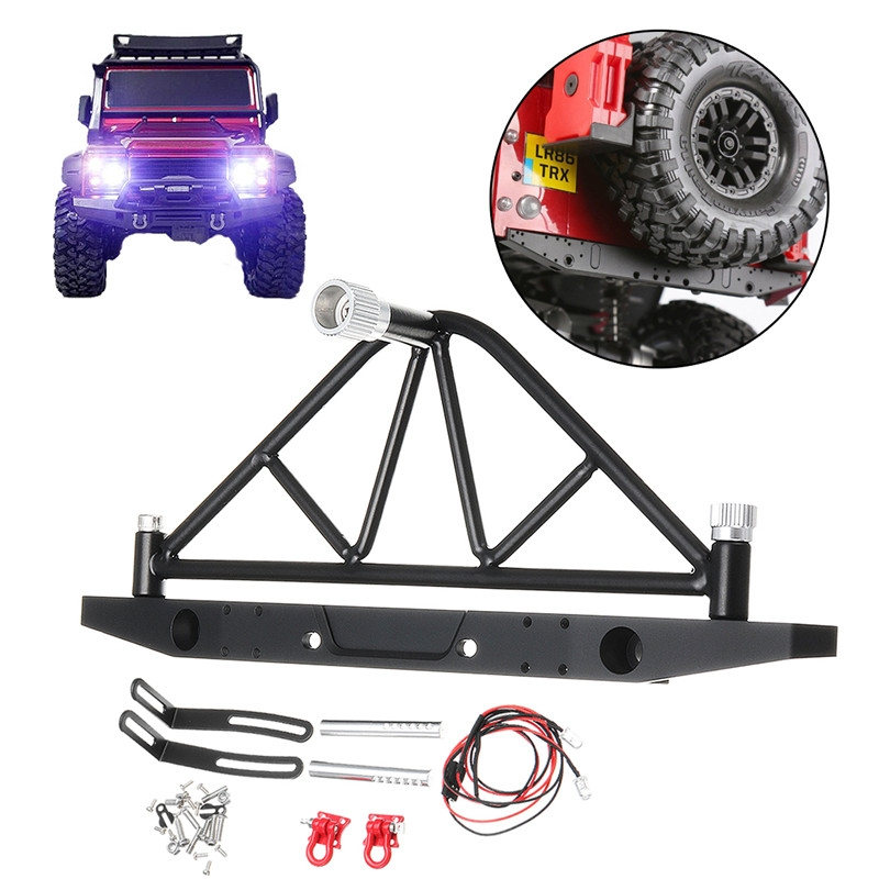 Upgrade Aluminum Rear Metal Bumper And Hitch +Tire Mount For 1/10 Traxxas TRX-4 RC Car Parts