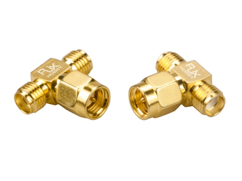 2PCS RJX Hobby RJX2253 SMA Male Plug To Dual SMA Female T-type RF Coaxial Adapter Connector
