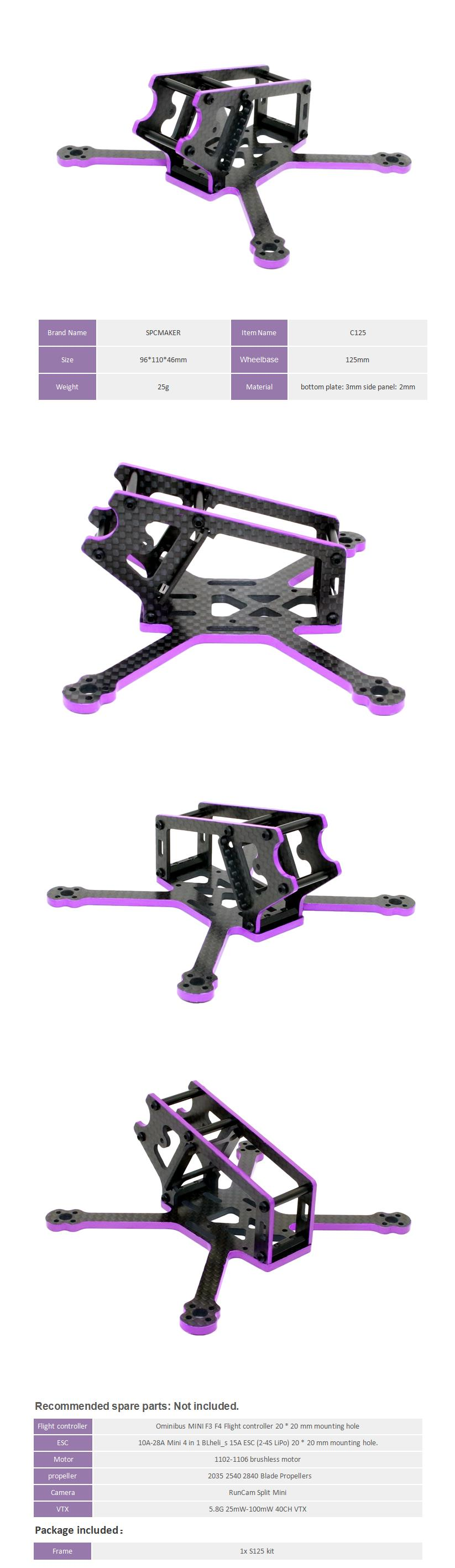 SPC MAKER S125 125mm Wheelbase 3mm Arm Carbon Fiber FPV Racing Frame Kit