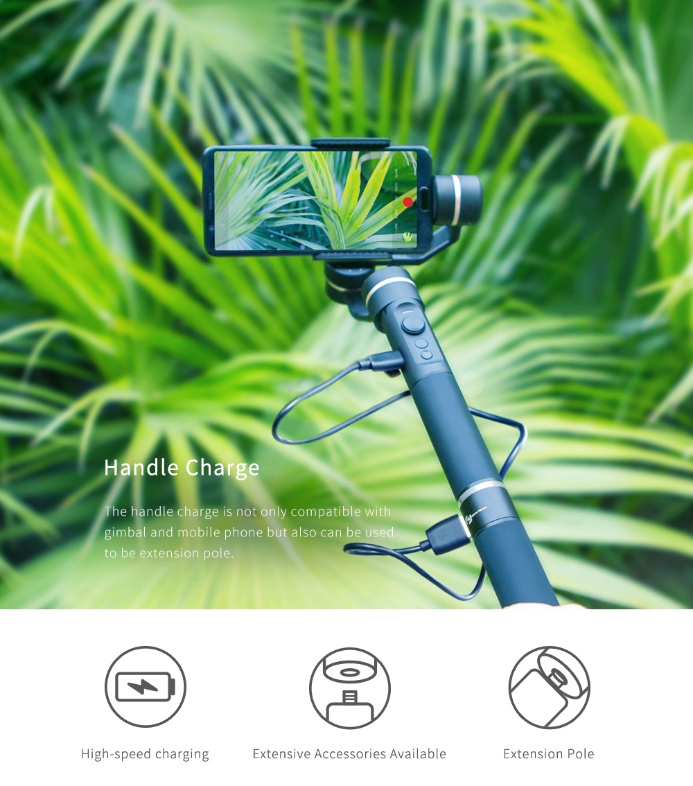 FeiyuTech Handle 1/4 Inch Screw Hole handheld Gimbal With Power Bank for Camera Phone Gopro