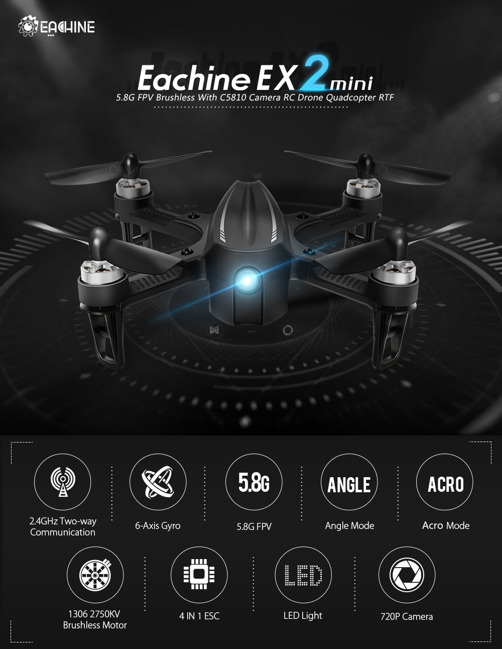 $67.89 for Eachine EX2mini Angle Mode Acro Mode With LED Light Brushless RC Drone Quadcopter RTF