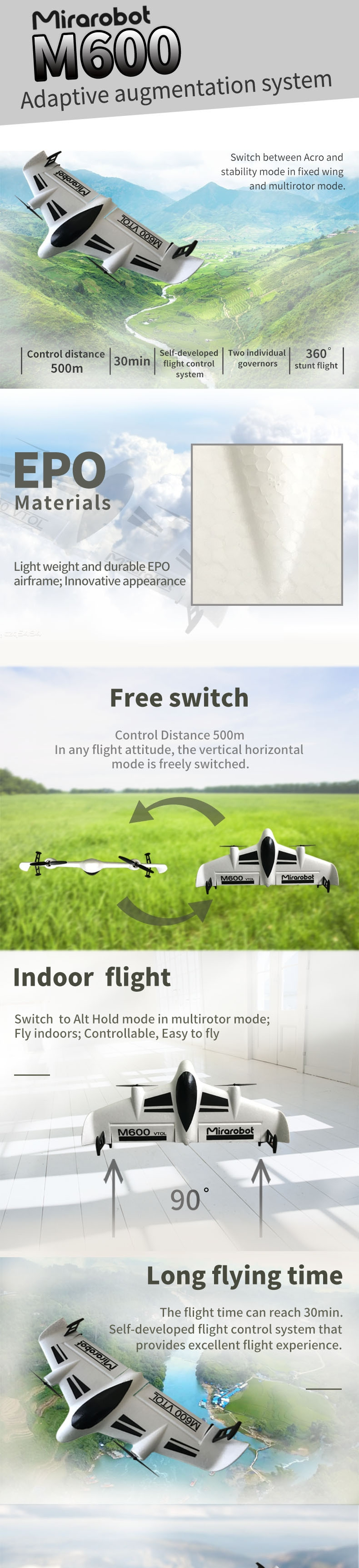 Mirarobot M600 600mm Wingspan Vertical Lift Flight VTOL EPO FPV Racer RC Airplane KIT