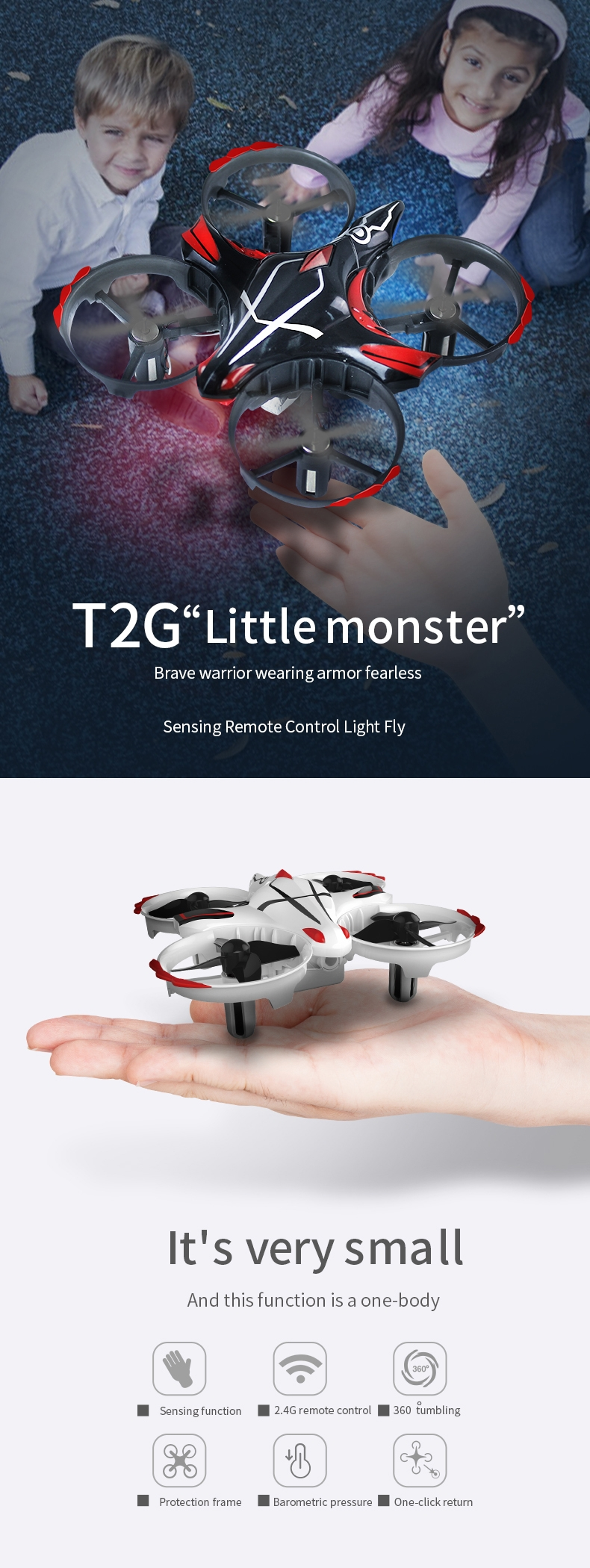 TAAIW-T2G With Transmitter Infrared Sensor Dual-mode Function Air Pressure High Hold Mode RC Drone
