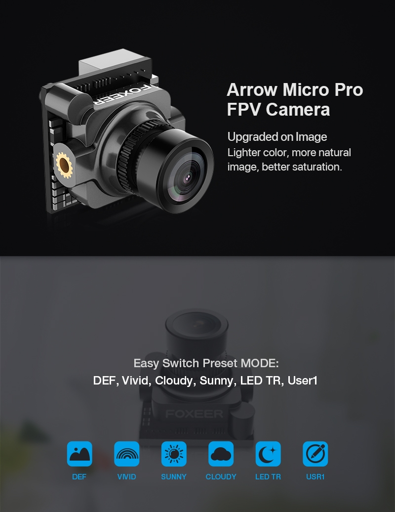 "Foxeer Arrow Micro Pro 1/3"" CCD 1.8mm M8 Lens 4:3 600TVL PAL/NTSC FPV Camera with OSD Black/Blue/Red"