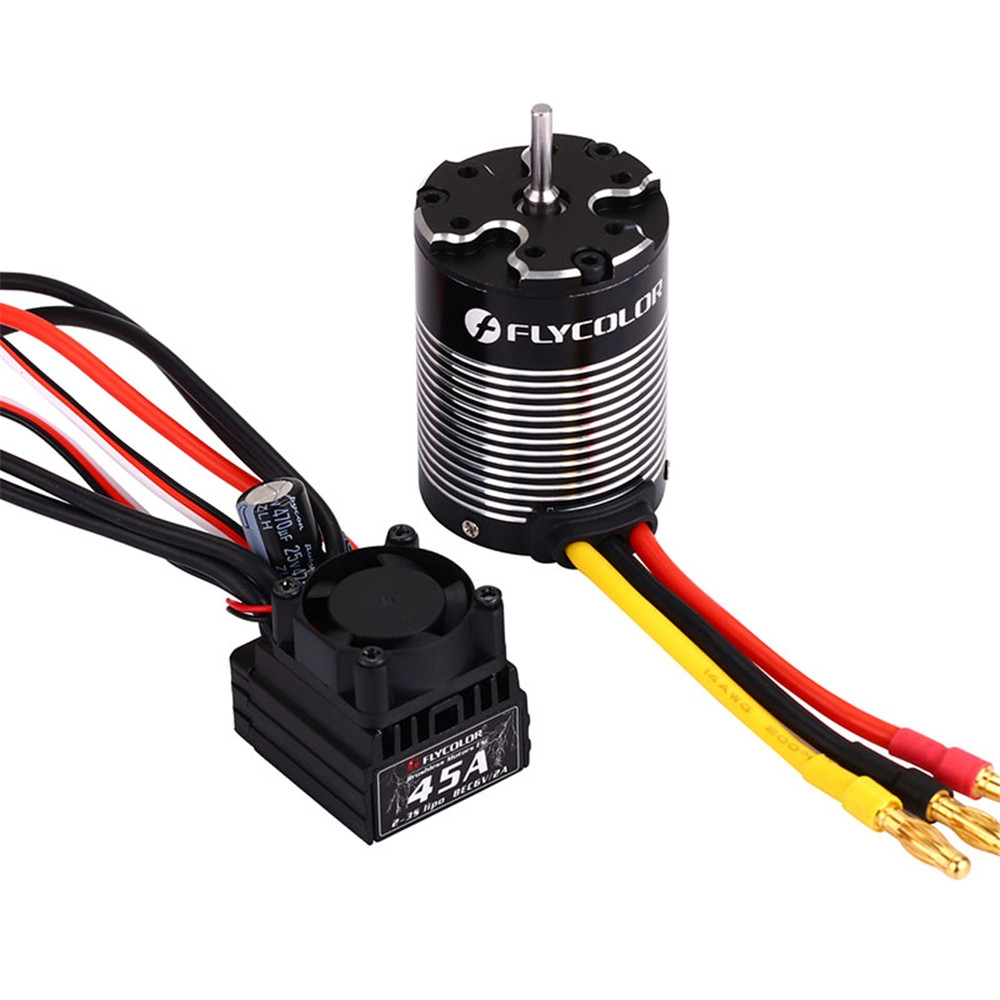 Flycolor 3650 3000KV Brushless Waterproof Sensorless Motor +45A ESC Combo Set for 1/10 Rc Car Parts