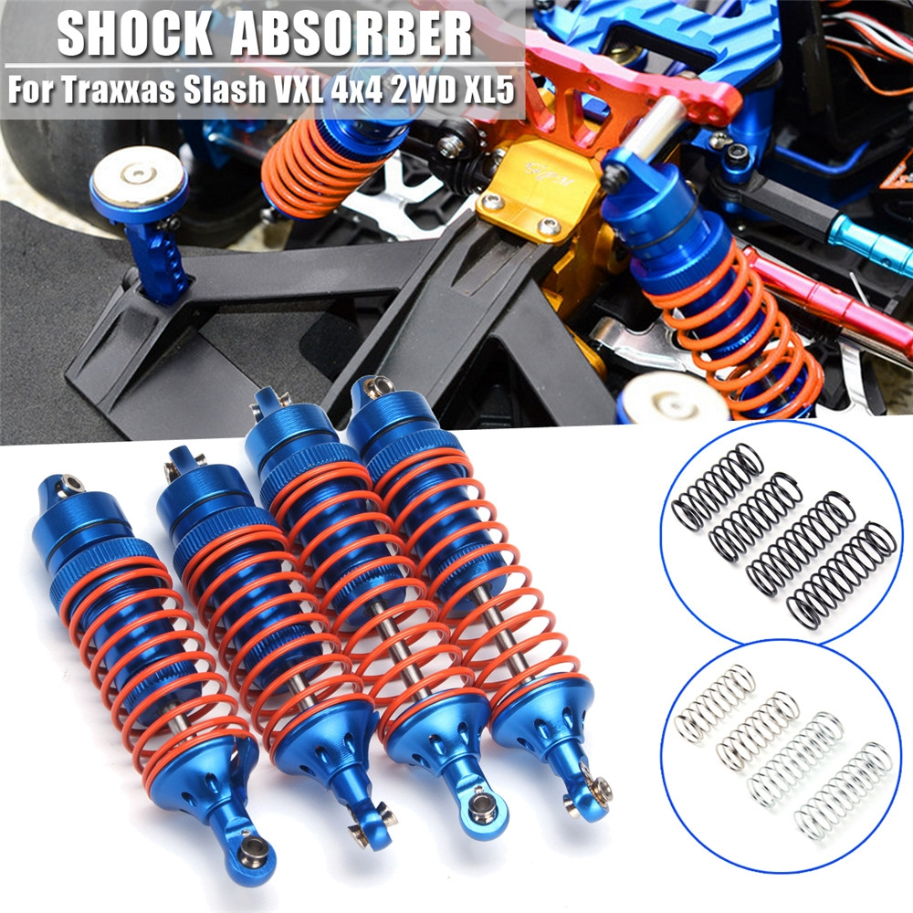 4PC Front Rear Aluminum Shock Absorber +8PC Springs For Traxxas Slash VXL 4x4 2WD XL5 Rc Car Parts