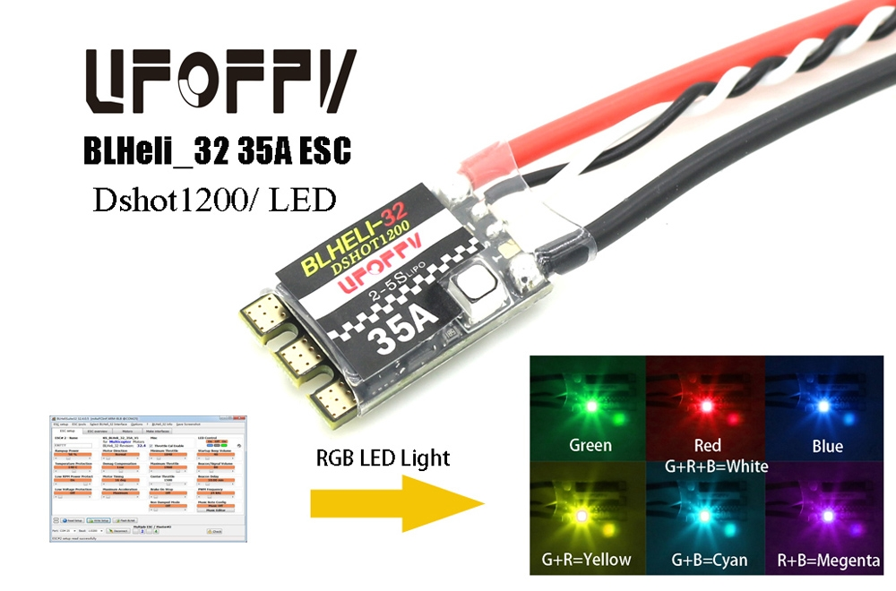 UFOFPV 35A BLHeli_32 ESC Dshot1200 3-5S Integrated RGB LED For RC Drone FPV Racing Muti Rotor