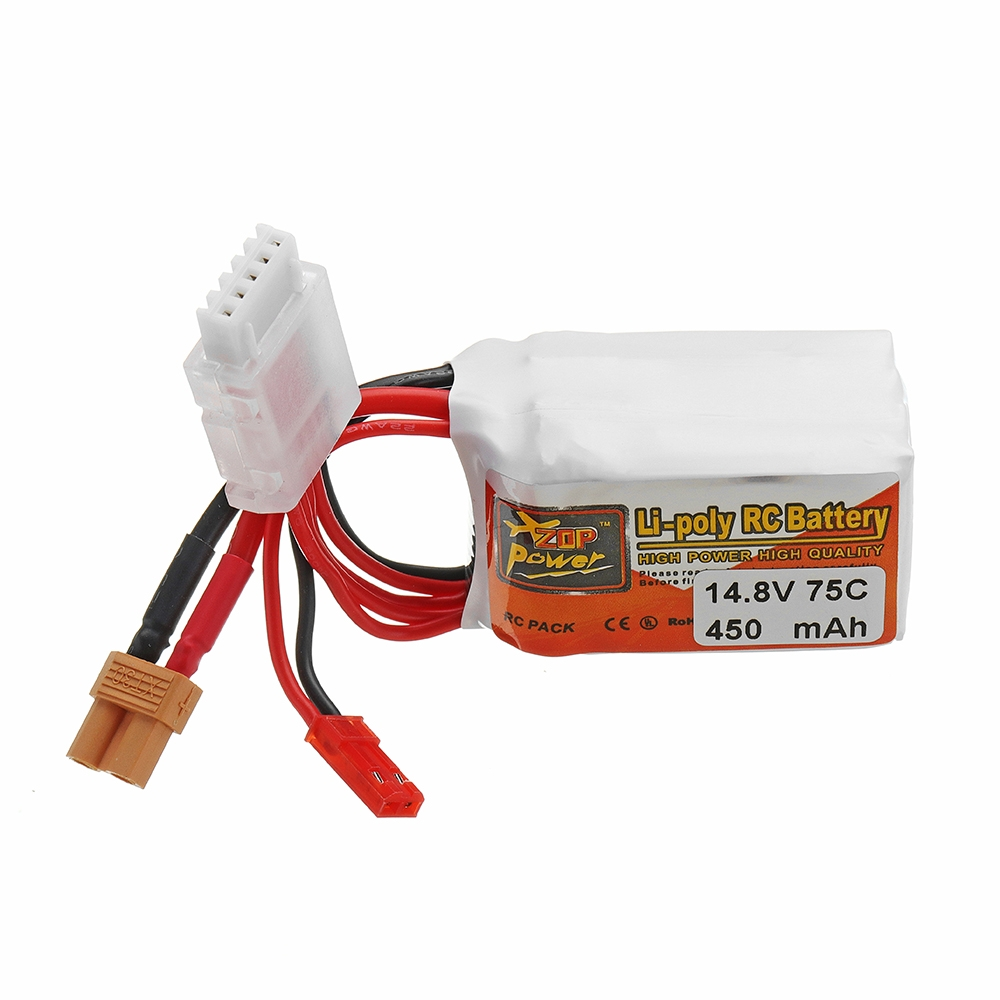 ZOP POWER 14.8V 450mAH 75C 4S Lipo Battery With JST/XT30 Plug For RC Models