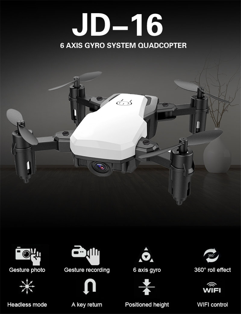 JDRC JD-16 JD16 WiFi FPV Foldable Drone With 2MP HD Camera Gesture Photo Recording RC Quadcopter RTF