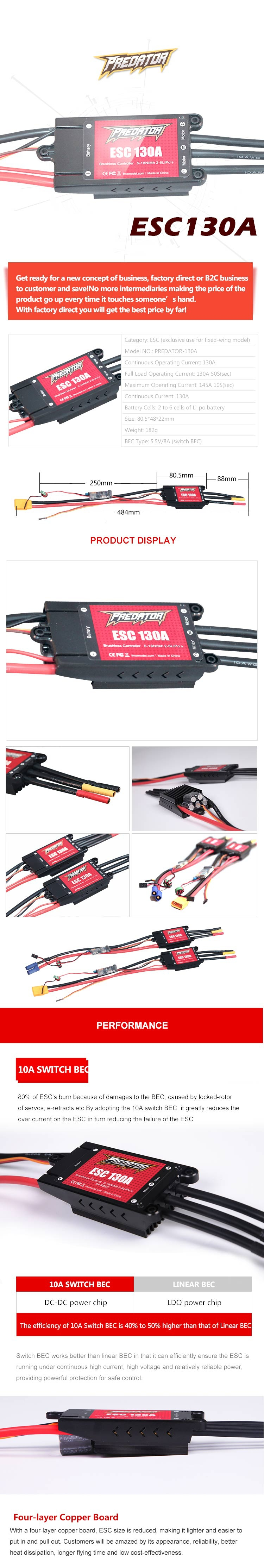 FMS Predator 130A Brushless ESC XT90 With 10A Switch BEC/Without BEC for RC Airplane