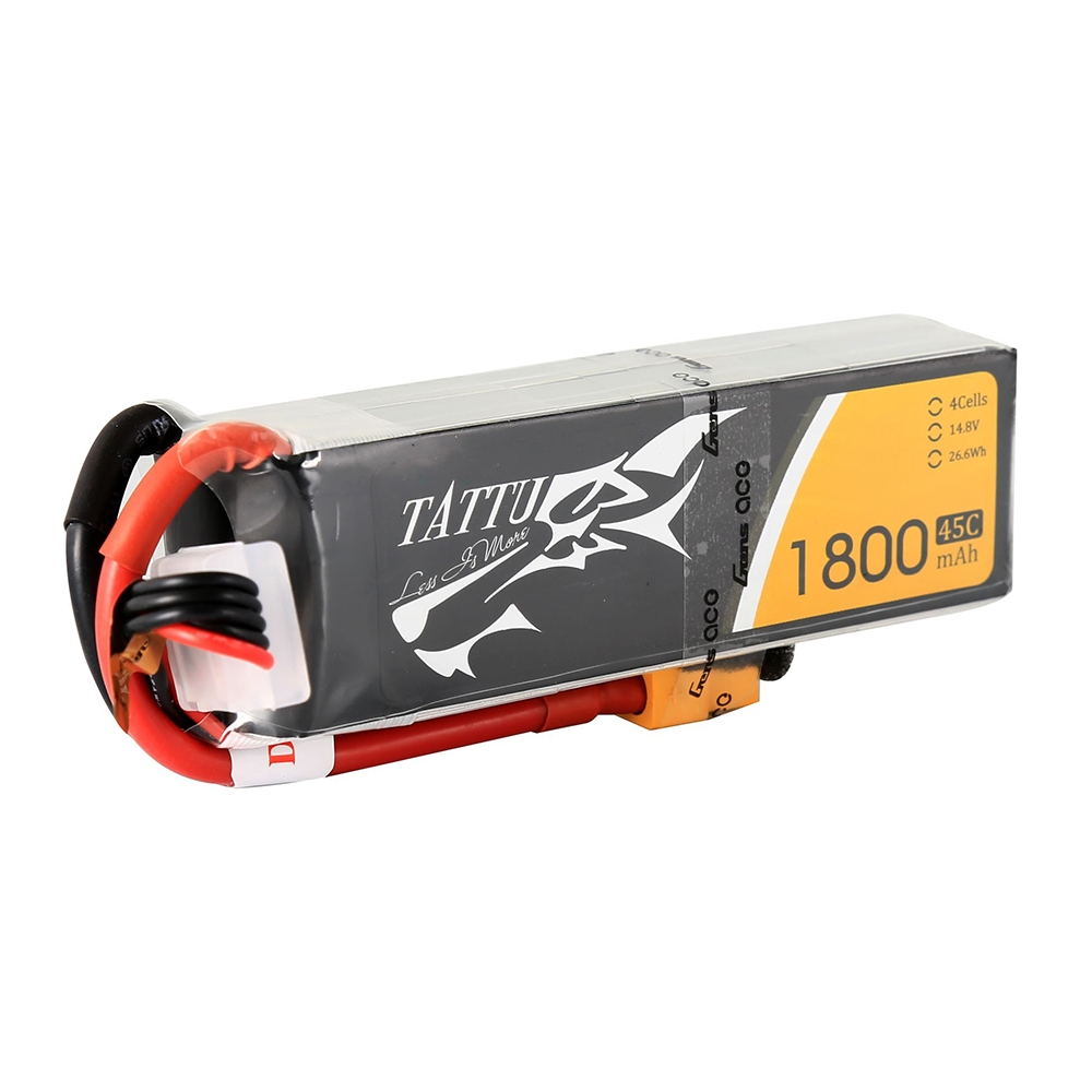 Gens Tattu 14.8V 1800mAh 45C 4S1P Lipo Battery With XT60 Plug For RC FPV