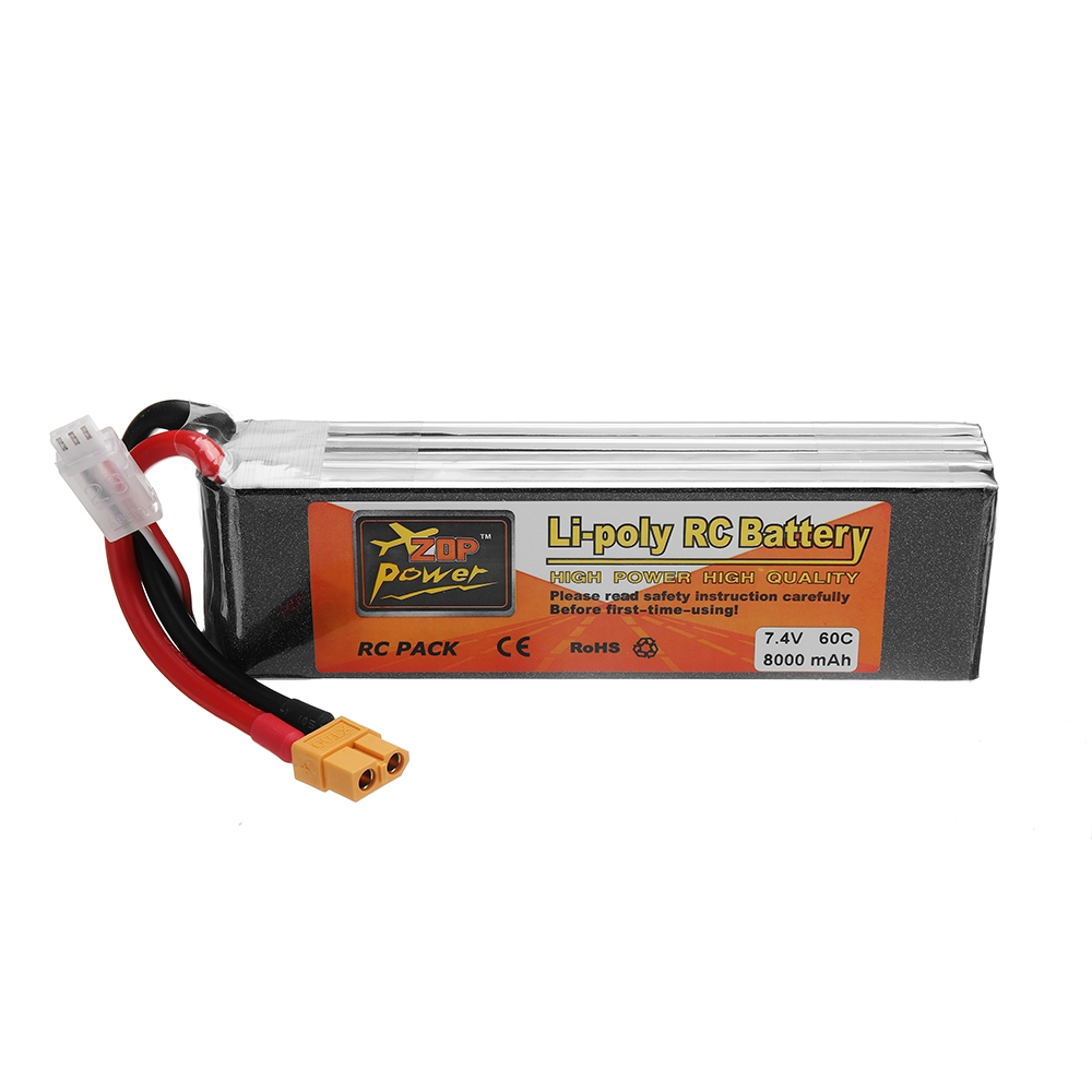 ZOP POWER 7.4V 8000mAh 60C 2S Lipo Battery With XT60 Plug For RC Models