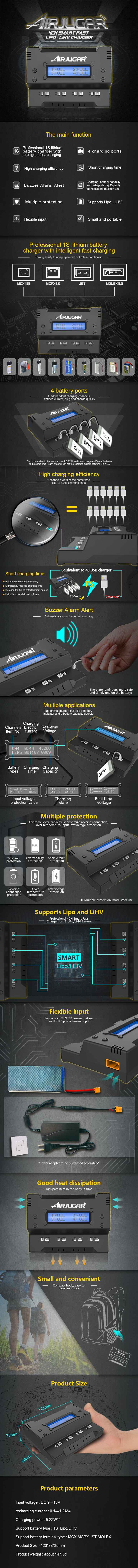4CH 1S Intelligent Smart Fast Charging Lipo LiHv Battery Charger XT60/JST/MCX/MCPX/MOLEX Plug