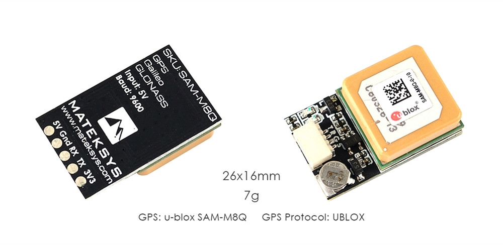 Matek Systems Ublox SAM-M8Q GPS Module Support GLONASS Galileo QZSS SBAS for RC Drone FPV Racing