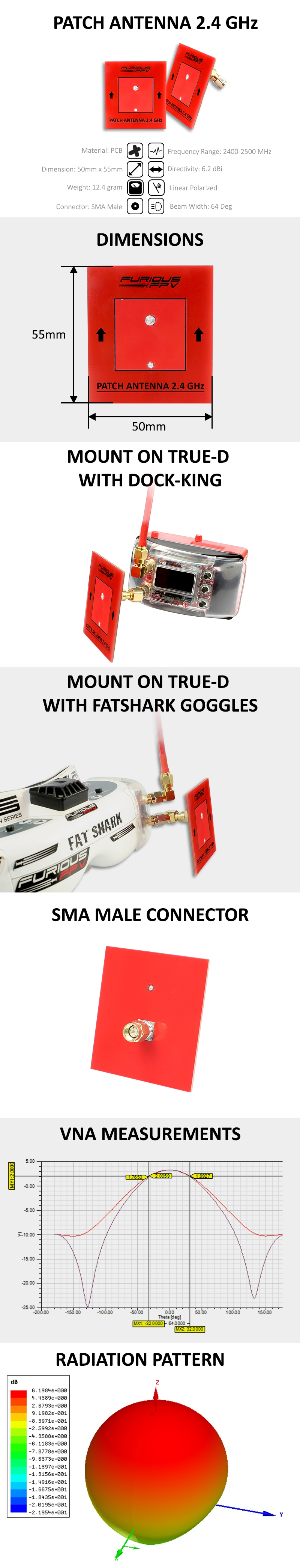 FuriousFPV 2.4GHz 6.2dBi Linear Polarized Patch FPV Antenna SMA Male for FPV Racing RC Drone