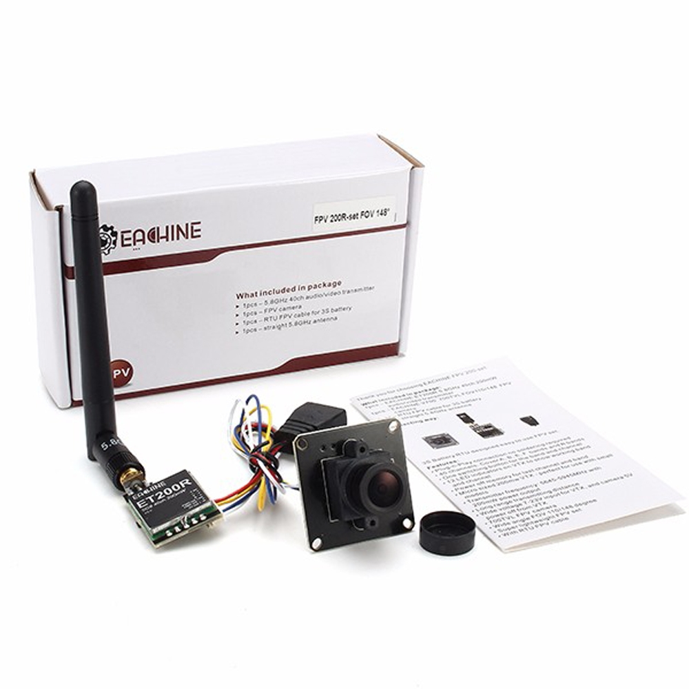 Eachine 700TVL 1/3 CMOS PAL/NTSC 2.6mm 148 Degree Wide Angle FPV Camera W/ 32CH 200mW Transmitter