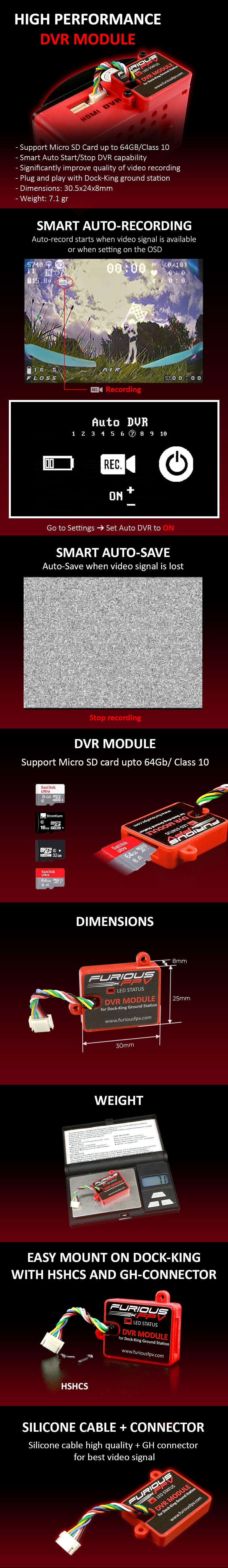 FuriousFPV High Performance DVR Module For Dock-King Ground Station Support Smart Auto Recording