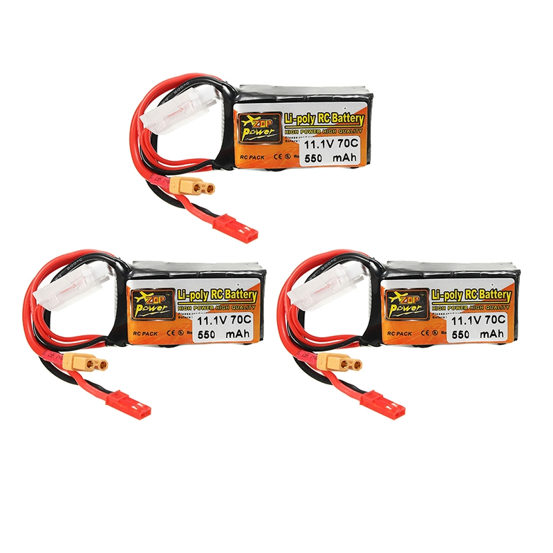 3Pcs ZOP Power 11.1V 550mAh 70C 3S Lipo Battery with JST XT30 Plug For Eachine Lizard95 FPV Racer