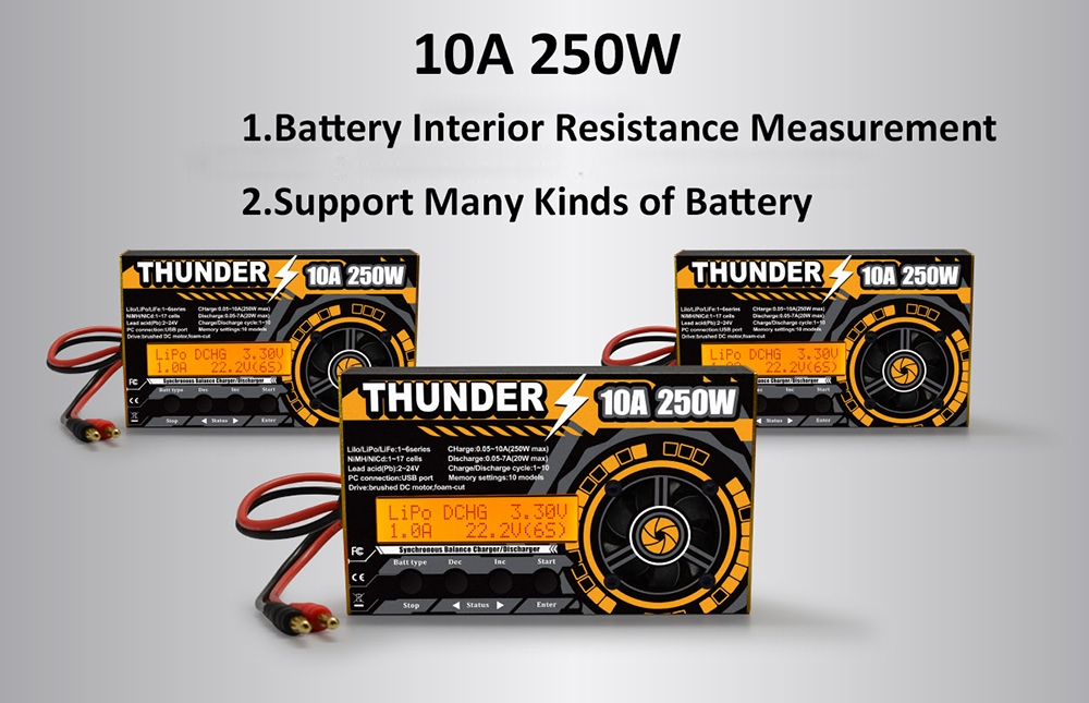 HOTA Thunder 250W 10A DC Balance Charger Discharger For LiPo NiCd PB Battery