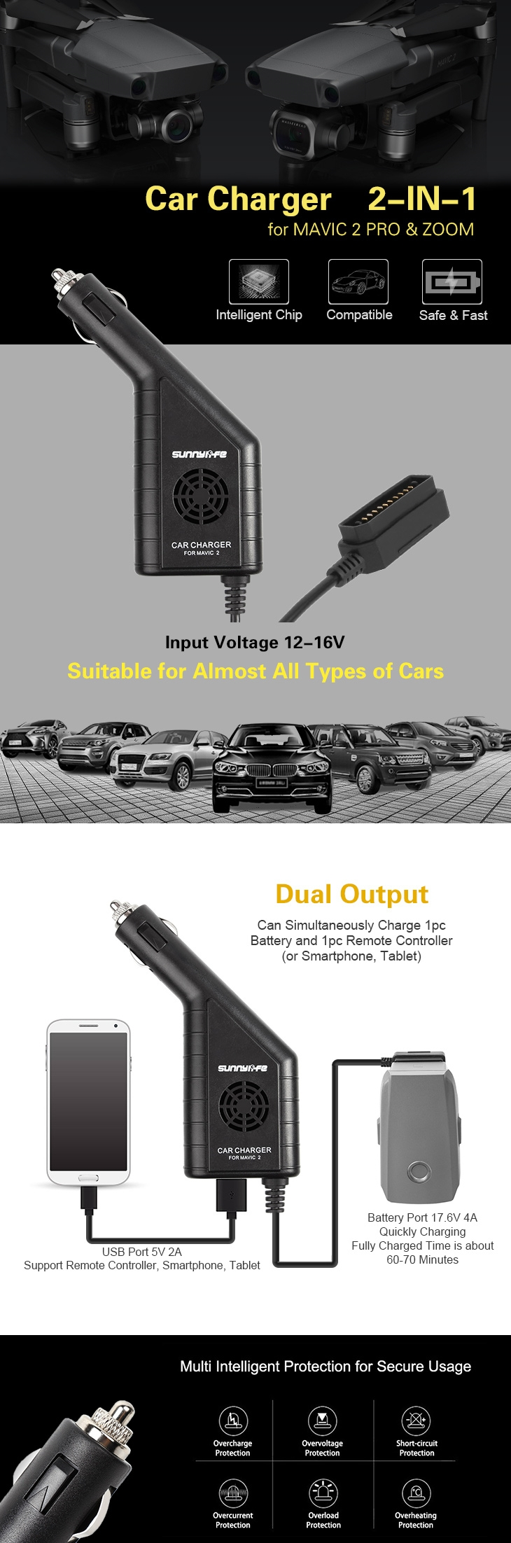2 in 1 Battery USB Car Charger for DJI MAVIC 2 PRO/ZOOM RC Drone Remote Controller