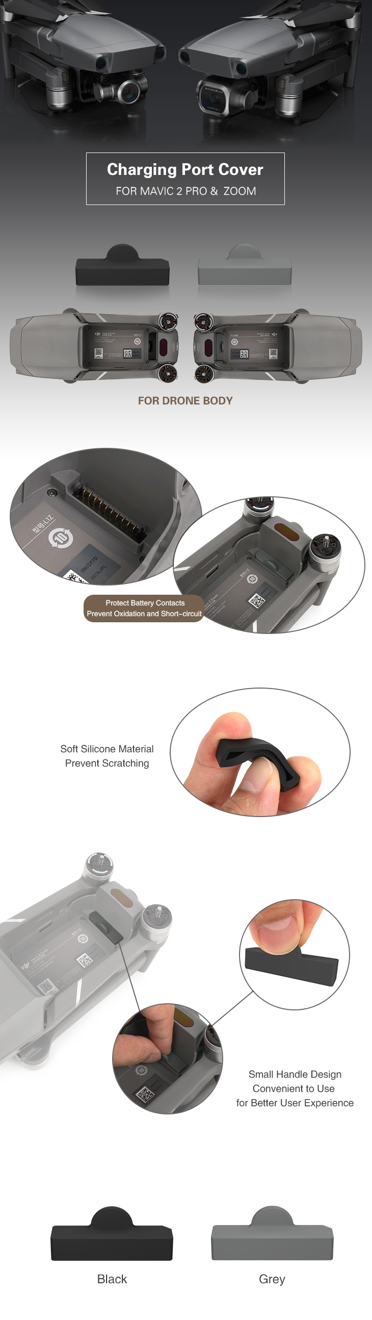 Sunnylife Dust-proof Body Battery Terminal Charging Plug Protectors Cover Case for DJI Mavic 2 Drone