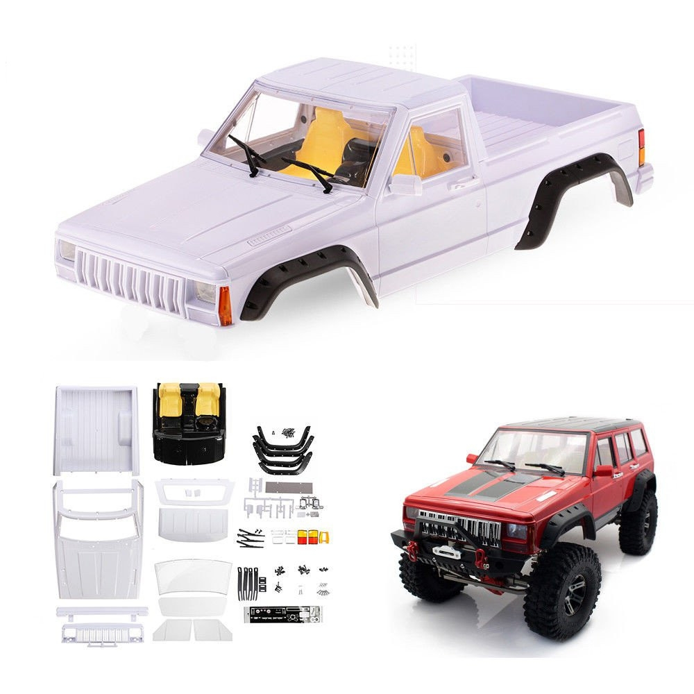 Unpainted 313mm Wheelbase Cherokee Pickup Truck Body Shell Set for Axial SCX10 II 1/10 Rc Car Parts