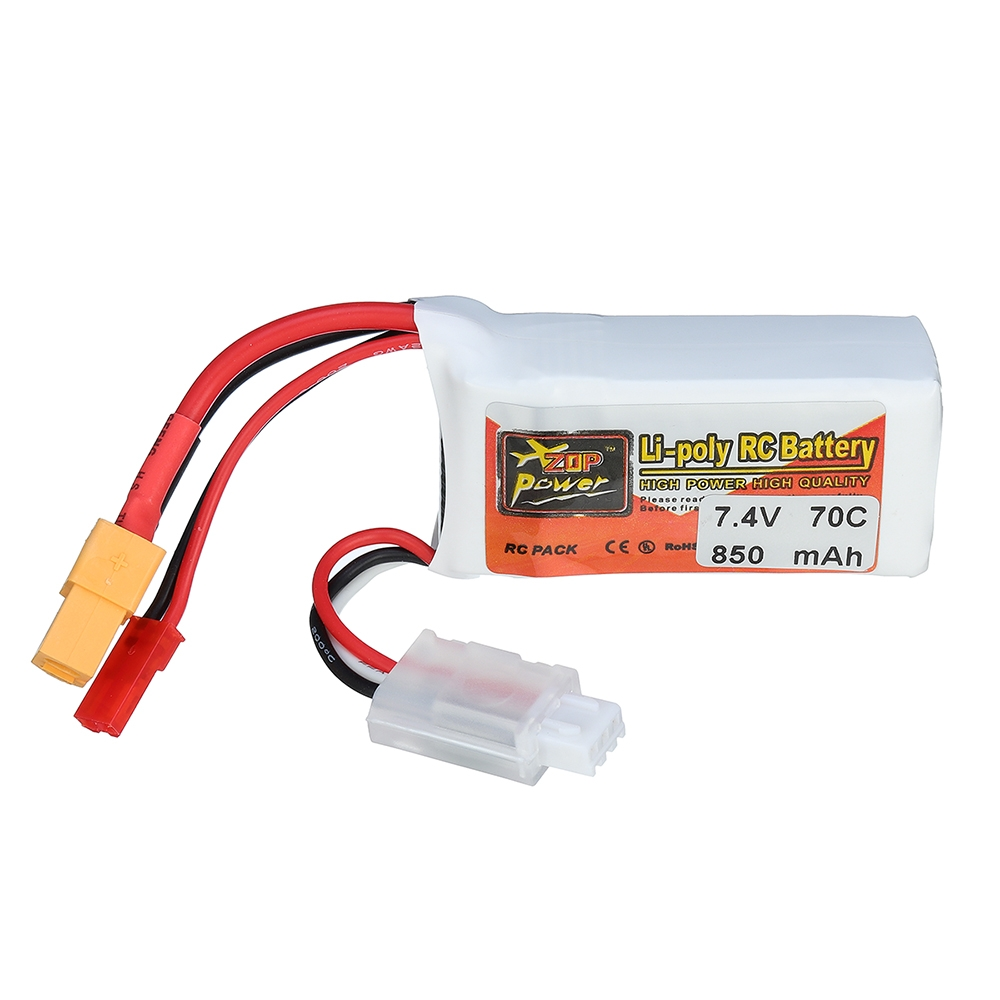 ZOP POWER 7.4V 850mAh 70C 2S Lipo Battery With JST Plug XT60 Plug For RC Models
