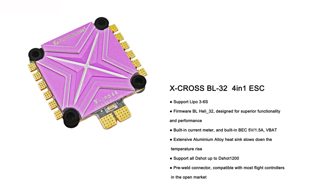 Flycolor X-cross 40A 3-6S Blheli_32 32Bit 5V/1.5A BEC 4 IN 1 FPV Racing Brushless ESC