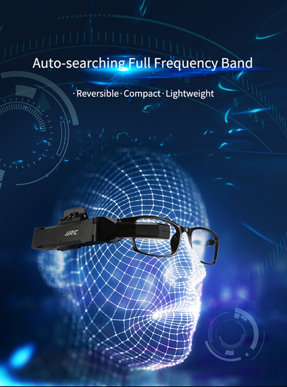 JJRC FPV-003 5.8GHz 40CH Full Frequency Band Auto-searching FPV Goggles Monocular Glasses w/ Battery