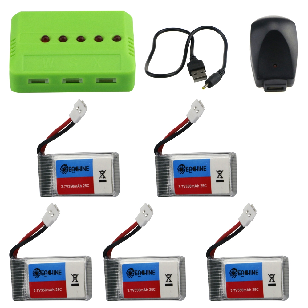 Eachine E016H RC Quadcopter Spare Parts 5Pcs 3.7V 350mAh Lipo Battery with 5-in-1 Charger Adapter