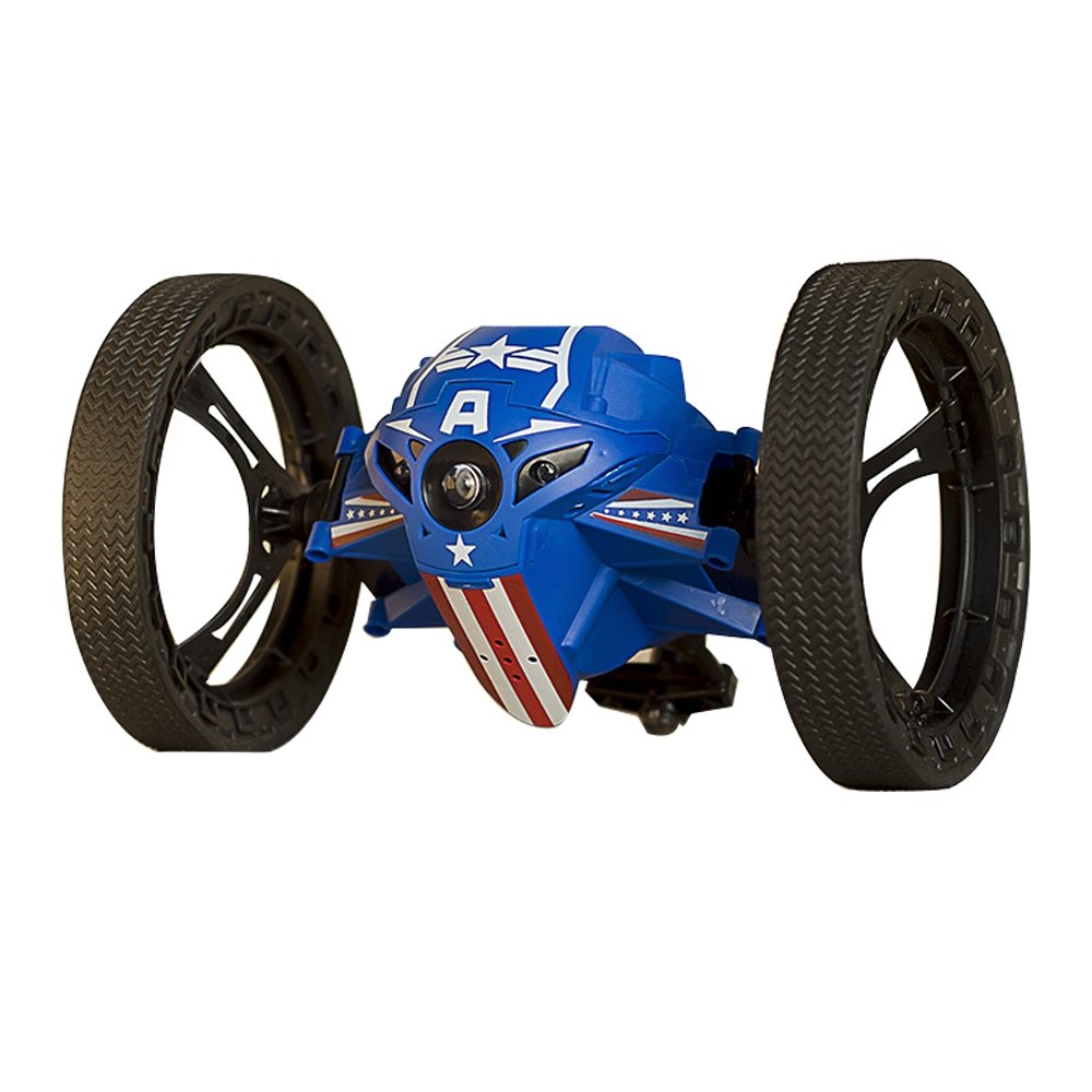 RH803A Mini Jump 2.4GHz RC Car With Flexible Wheels Rotation LED Light Robot Toys Gifts Blue
