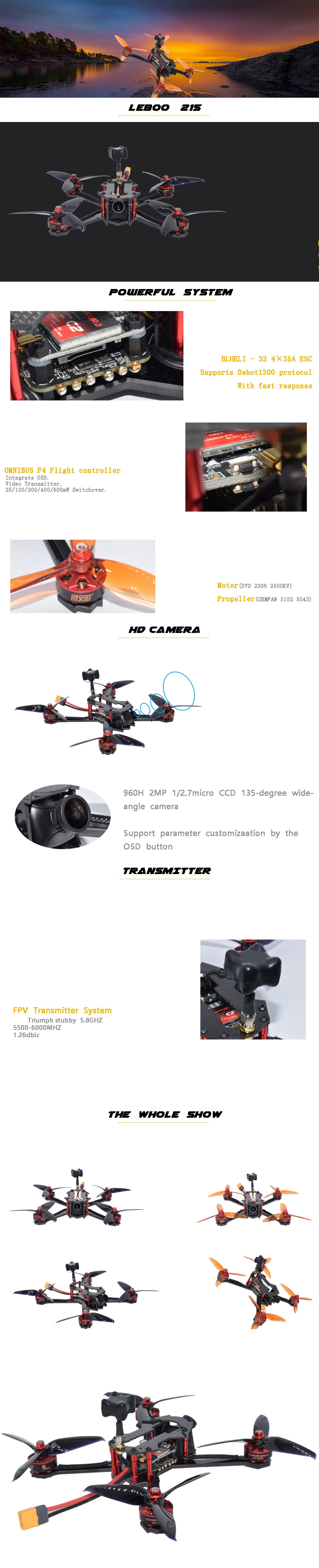 AuroraRC LEBOO 215mm RC FPV Racing Drone PNP BNF OMVT F4 BLHeli_32 4in1 35A 960H CCD Camera