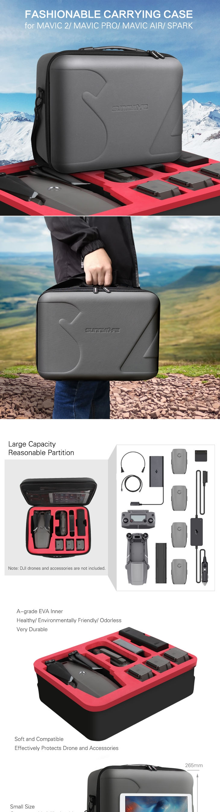 Sunnylife Protective Storage Bag Shoulder Bag Carrying Box Case for DJI Mavic 2/ MAVIC PRO/ MAVIC AIR/ SPARK Drone