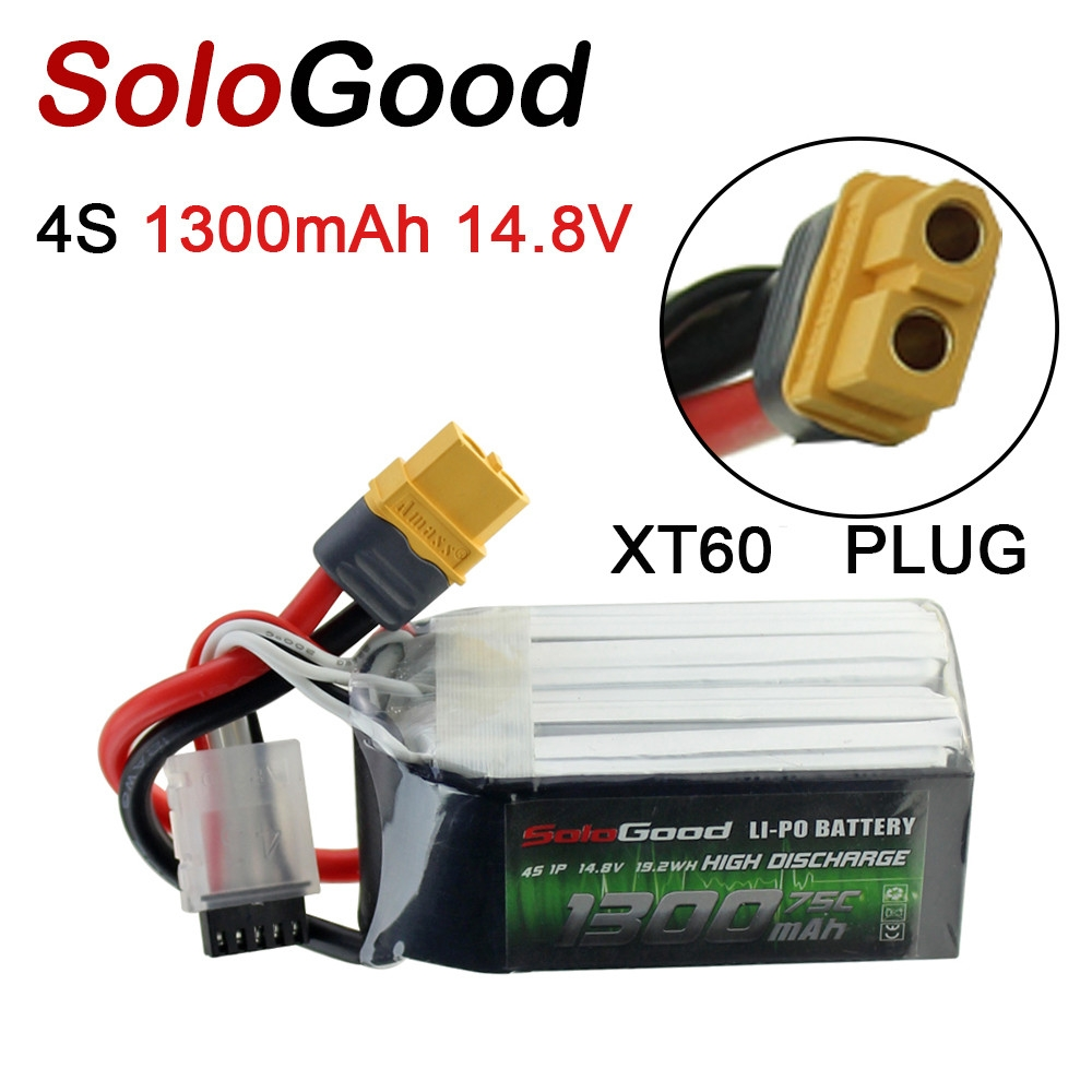 SoloGood 14.8V 1300mAh 75C 4S XT60 Plug Lipo Battery for Rc Racing Car Model Parts