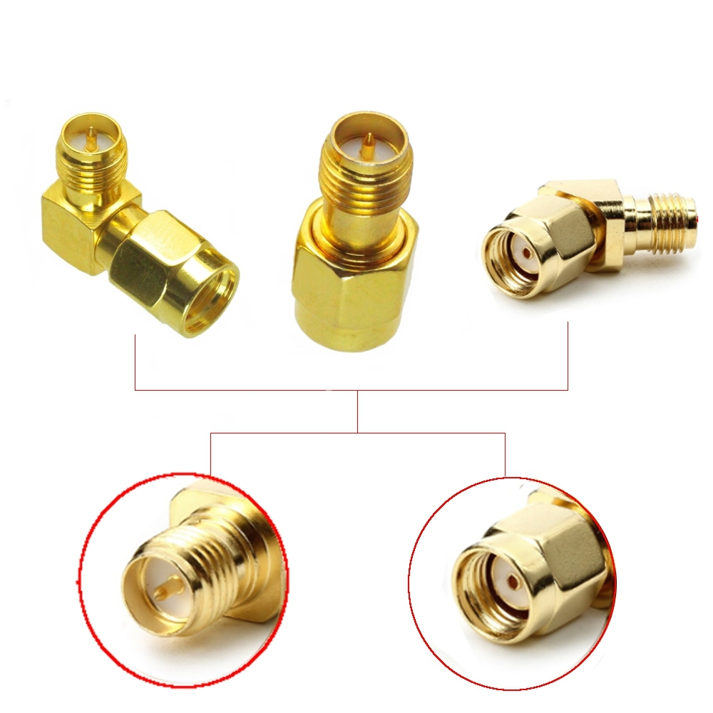 3 PCS Whole Set RP-SMA Male to RP-SMA Female Antenna Connector