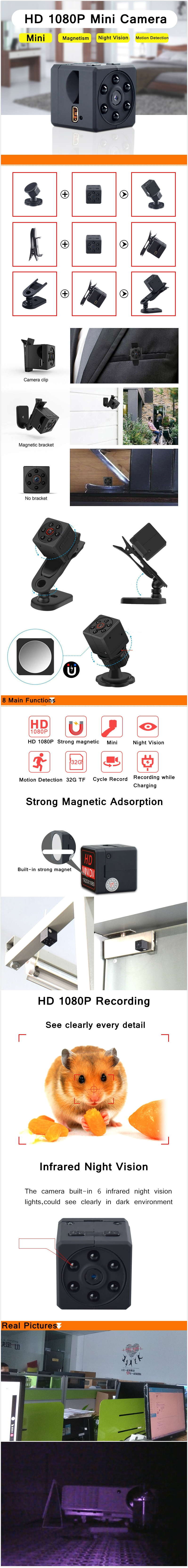 MD18S 1080P HD IR Infrared Night Vision Mini FPV Camera Camcorder M.otion Detection Mini D.V Video Recorder