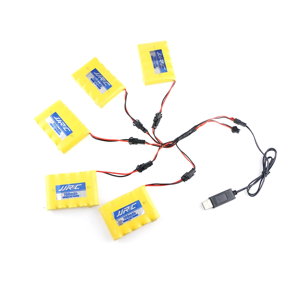 5PCS JJRC Q64 700MAH 5C 6V Lipo Battery w/ 1Pc USB Line w/DYX-0009 For Q63 Q64 NB2803 RC Car