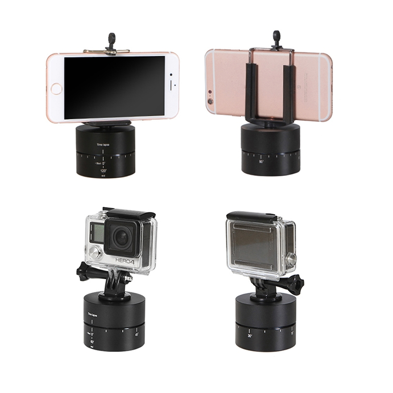 60 Minutes Time Lapse Shooting Stabilizer 360-degree Automatic Rotation Photography Device 1/4 Inch Camera Mount ABS Gimbal For GoPro Xiaoyi SLR Smartphone Tripod