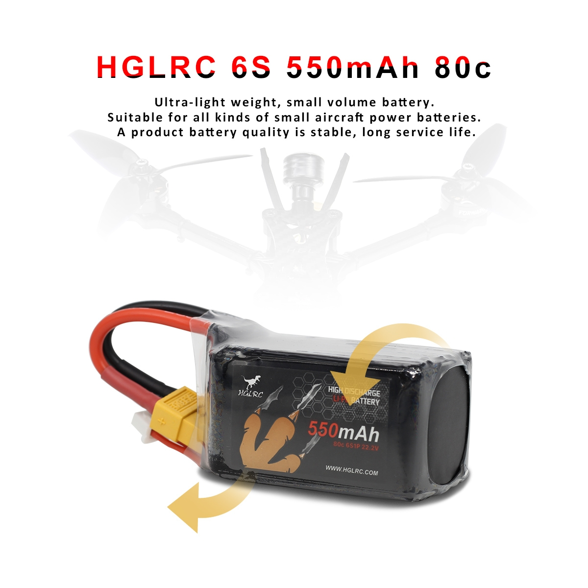 HGLRC 6S 22.2V 550mAh 80C LiPo Battery XT60 with 2x Battery Strap 75*32*50mm 115.1g for RC Drone FPV Racing